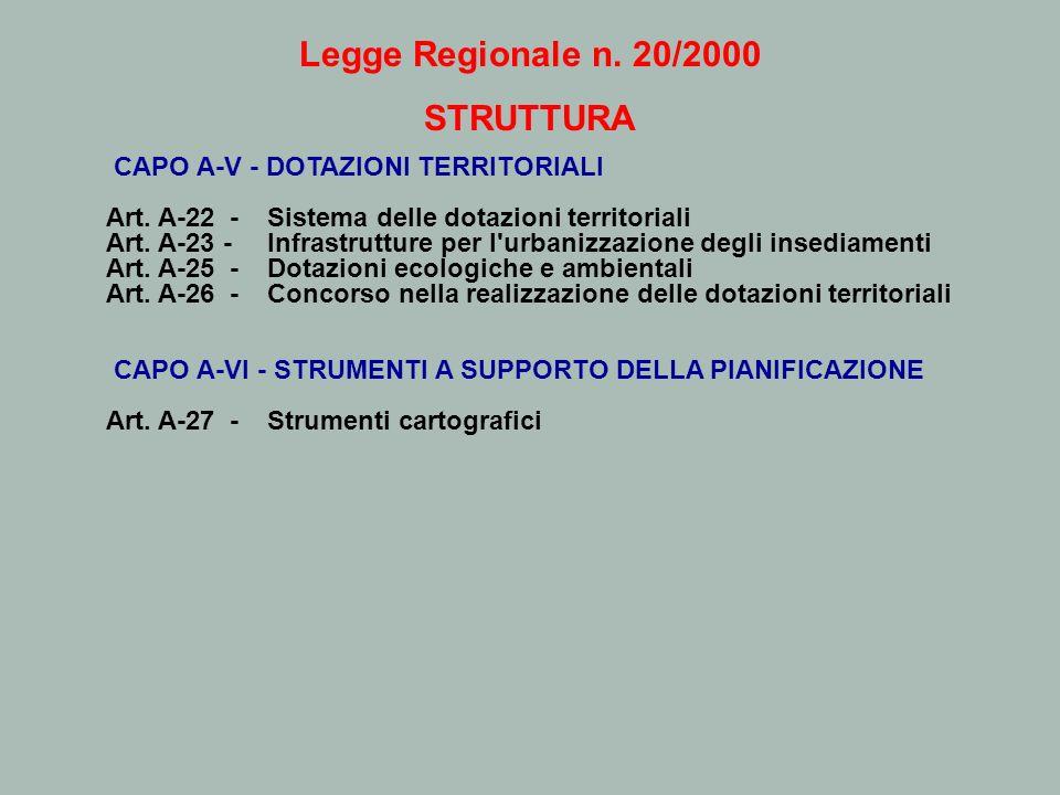 Legge Regionale n. 20/2000 STRUTTURA CAPO A-V - DOTAZIONI TERRITORIALI Art. A-22 - Sistema delle dotazioni territoriali Art. A-23 - Infrastrutture per