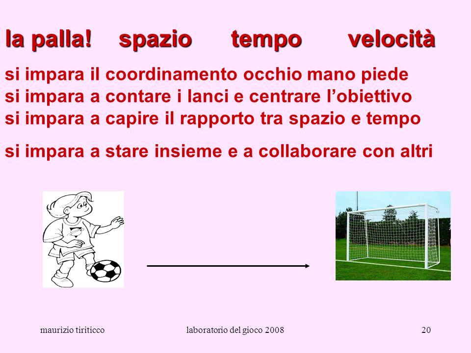 maurizio tiriticcolaboratorio del gioco 200820 la palla! spazio tempo velocità si impara il coordinamento occhio mano piede si impara a contare i lanc