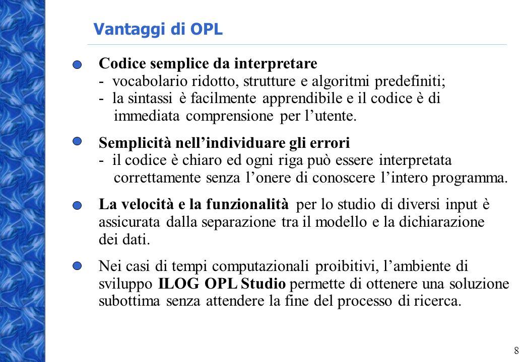 8 Vantaggi di OPL Codice semplice da interpretare - vocabolario ridotto, strutture e algoritmi predefiniti; - la sintassi è facilmente apprendibile e il codice è di immediata comprensione per lutente.