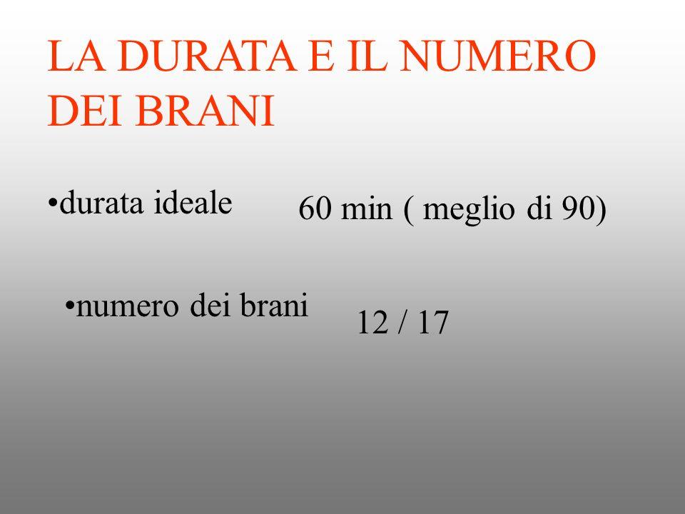 LA DURATA E IL NUMERO DEI BRANI durata ideale numero dei brani 60 min ( meglio di 90) 12 / 17