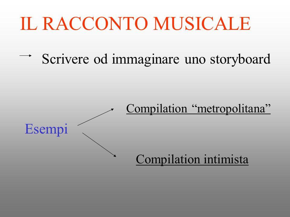 IL RACCONTO MUSICALE Scrivere od immaginare uno storyboard Esempi Compilation metropolitana Compilation intimista