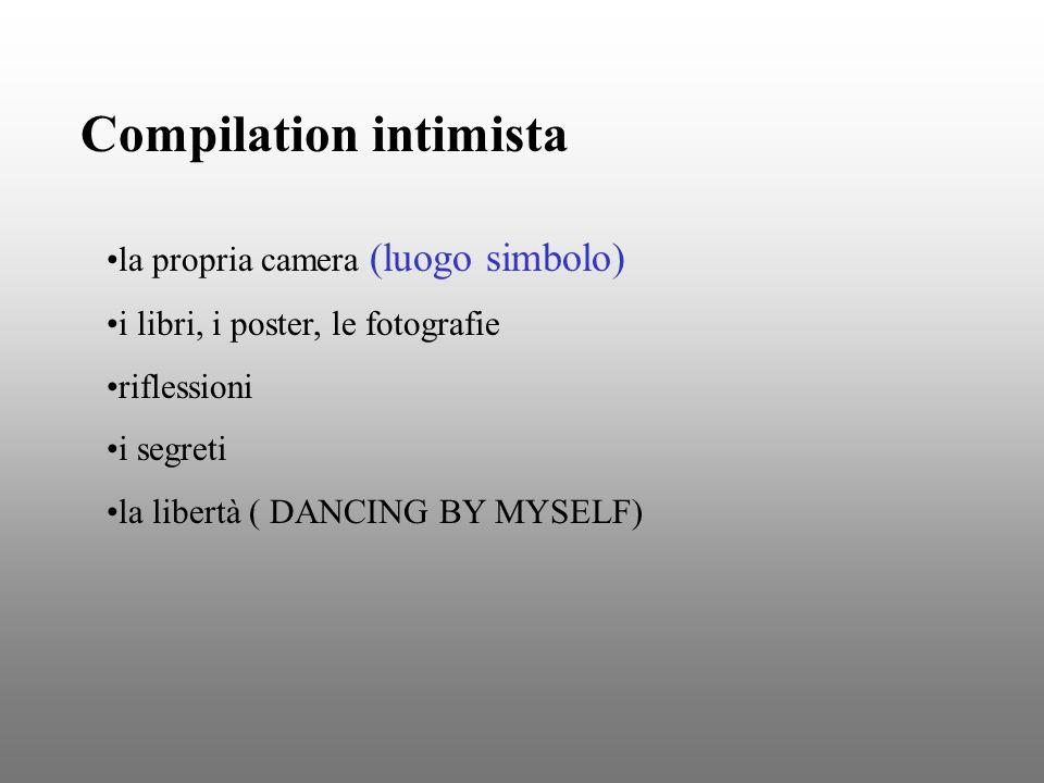 Compilation intimista la propria camera (luogo simbolo) i libri, i poster, le fotografie riflessioni i segreti la libertà ( DANCING BY MYSELF)