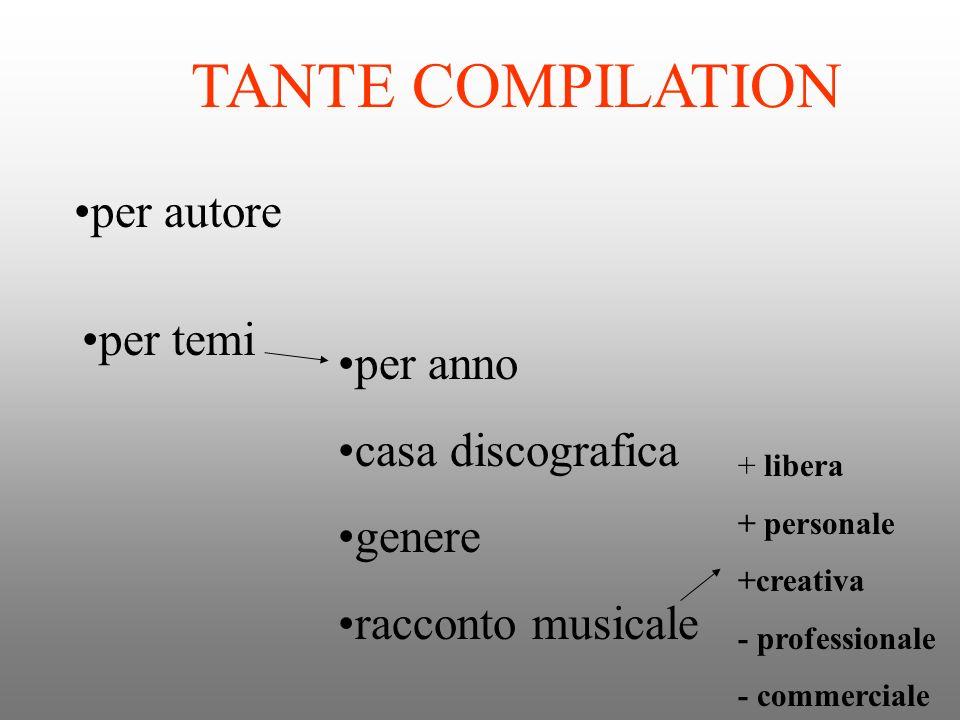 CARATTERISTICHE DI UNA COMPILATION durata numero dei brani sequenza il racconto musicale ( la cifra stilistica, latmosfera) la copertina, le scritte, il titolo