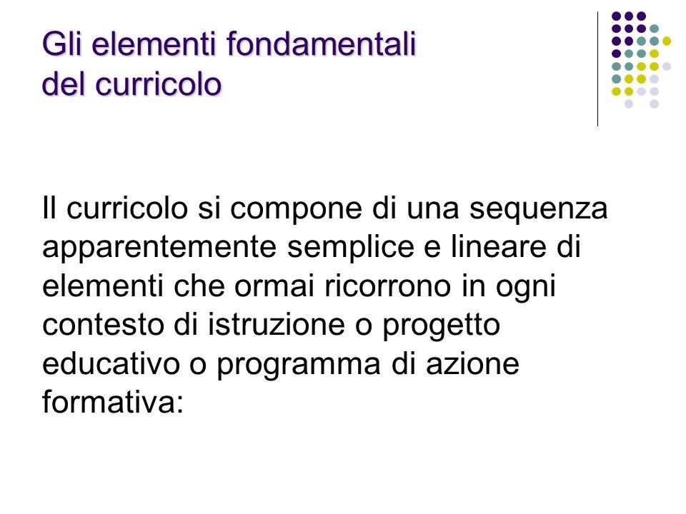 Gli elementi fondamentali del curricolo Il curricolo si compone di una sequenza apparentemente semplice e lineare di elementi che ormai ricorrono in o