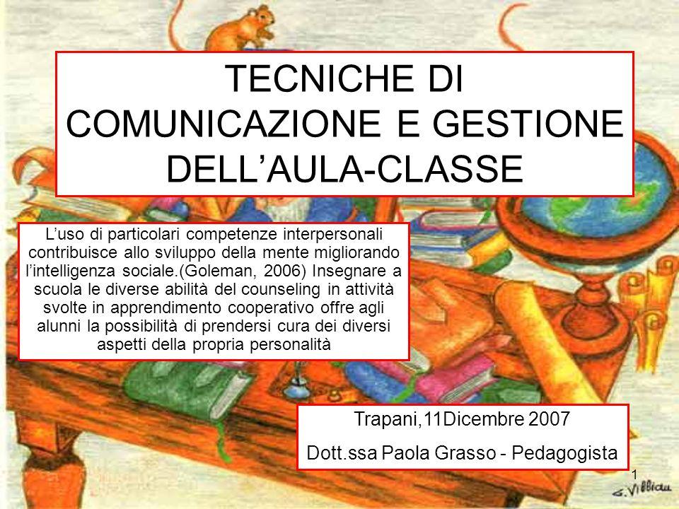 1 TECNICHE DI COMUNICAZIONE E GESTIONE DELLAULA-CLASSE Trapani,11Dicembre 2007 Dott.ssa Paola Grasso - Pedagogista Luso di particolari competenze inte