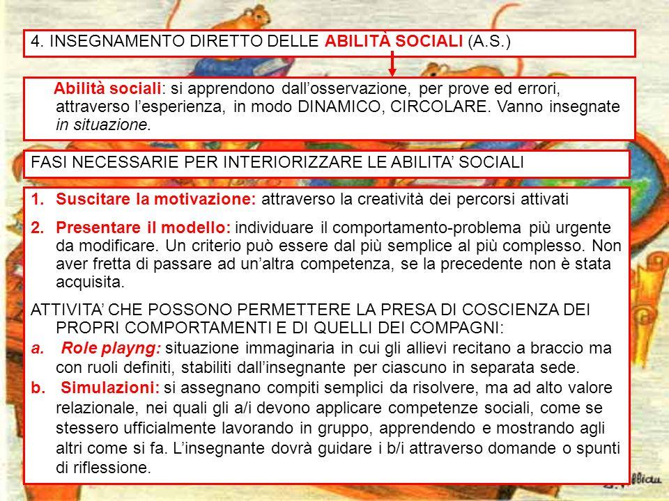 18 4. INSEGNAMENTO DIRETTO DELLE ABILITÀ SOCIALI (A.S.) Abilità sociali: si apprendono dallosservazione, per prove ed errori, attraverso lesperienza,