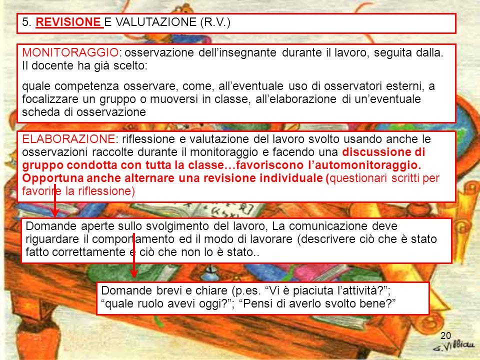 20 5. REVISIONE E VALUTAZIONE (R.V.) MONITORAGGIO: osservazione dellinsegnante durante il lavoro, seguita dalla. Il docente ha già scelto: quale compe
