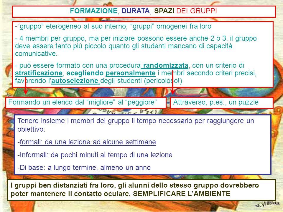 22 -gruppo eterogeneo al suo interno; gruppi omogenei fra loro - 4 membri per gruppo, ma per iniziare possono essere anche 2 o 3. il gruppo deve esser