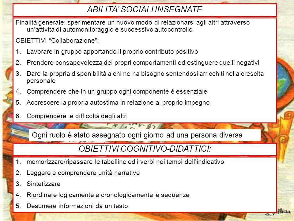 29 ABILITA SOCIALI INSEGNATE Finalità generale: sperimentare un nuovo modo di relazionarsi agli altri attraverso unattività di automonitoraggio e succ