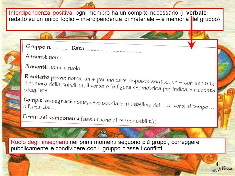 41 Interdipendenza positiva: ogni membro ha un compito necessario (il verbale redatto su un unico foglio – interdipendenza di materiale – è memoria de