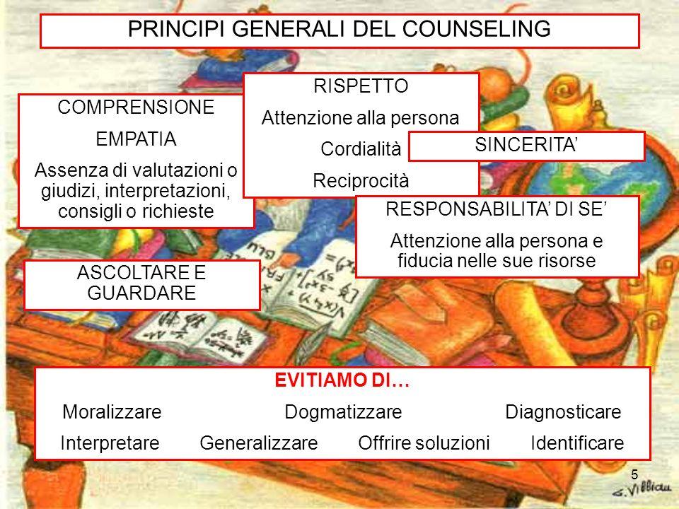 5 PRINCIPI GENERALI DEL COUNSELING COMPRENSIONE EMPATIA Assenza di valutazioni o giudizi, interpretazioni, consigli o richieste RISPETTO Attenzione al