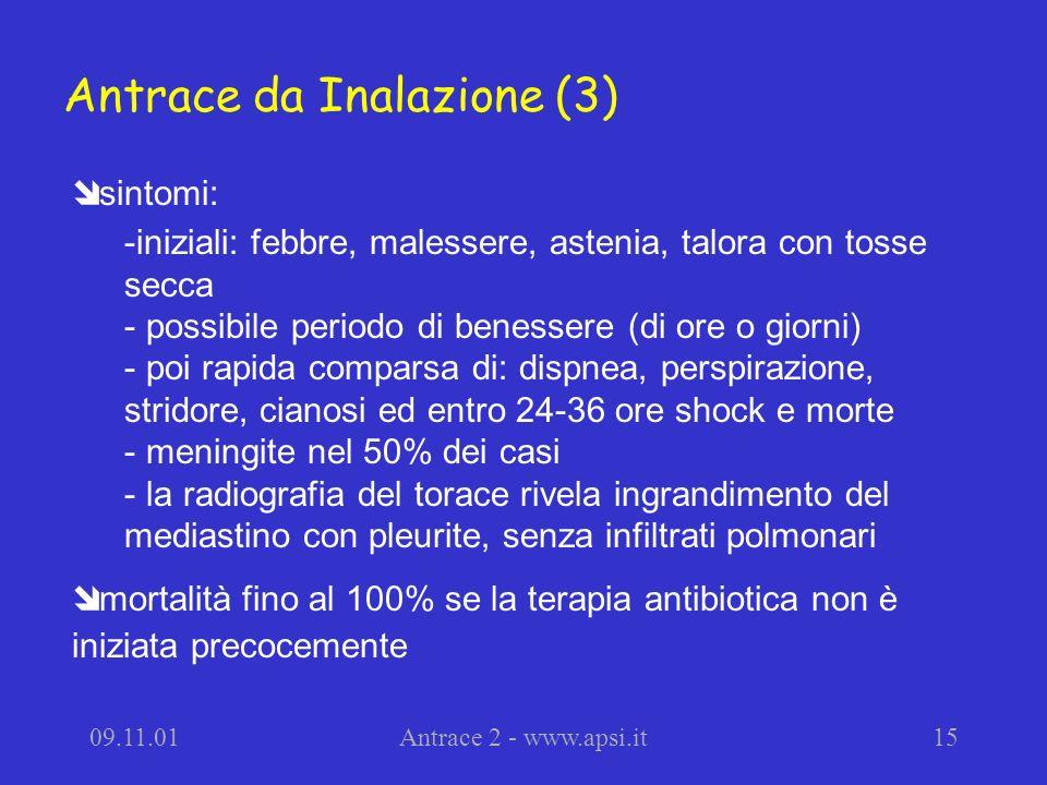 09.11.01Antrace 2 - www.apsi.it15 sintomi: -iniziali: febbre, malessere, astenia, talora con tosse secca - possibile periodo di benessere (di ore o gi