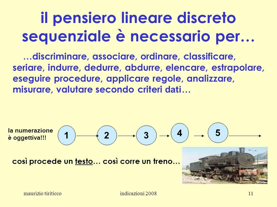 maurizio tiriticcoindicazioni 200811 il pensiero lineare discreto sequenziale è necessario per… …discriminare, associare, ordinare, classificare, seri