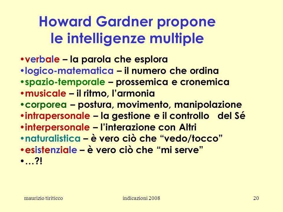 maurizio tiriticcoindicazioni 200820 Howard Gardner propone le intelligenze multiple verbale – la parola che esplora logico-matematica – il numero che
