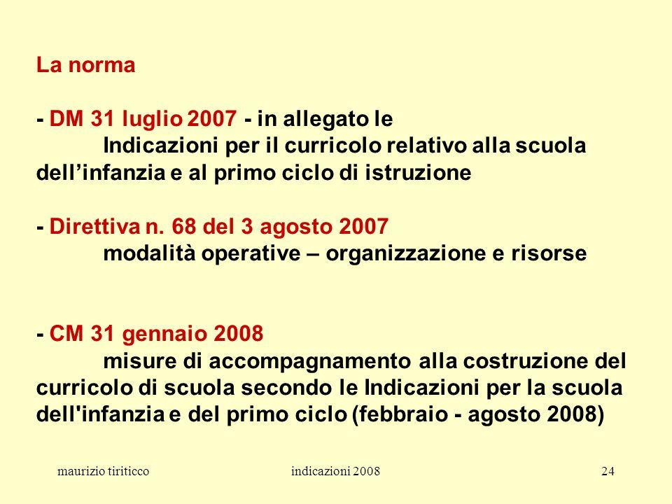 maurizio tiriticcoindicazioni 200824 La norma - DM 31 luglio 2007 - in allegato le Indicazioni per il curricolo relativo alla scuola dellinfanzia e al