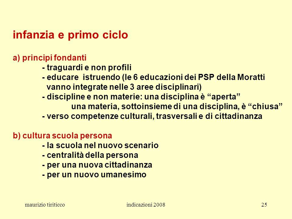 maurizio tiriticcoindicazioni 200825 infanzia e primo ciclo a) principi fondanti - traguardi e non profili - educare istruendo (le 6 educazioni dei PS