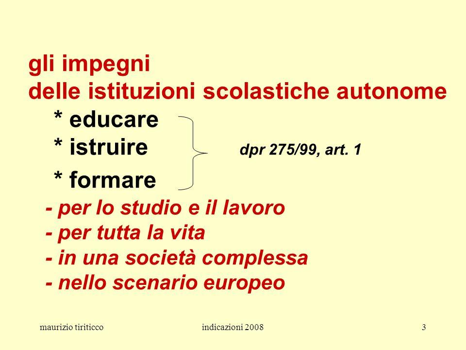 maurizio tiriticcoindicazioni 20083 gli impegni delle istituzioni scolastiche autonome * educare * istruire dpr 275/99, art. 1 * formare - per lo stud