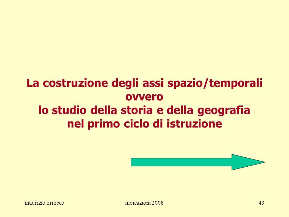 maurizio tiriticcoindicazioni 200843 La costruzione degli assi spazio/temporali ovvero lo studio della storia e della geografia nel primo ciclo di ist