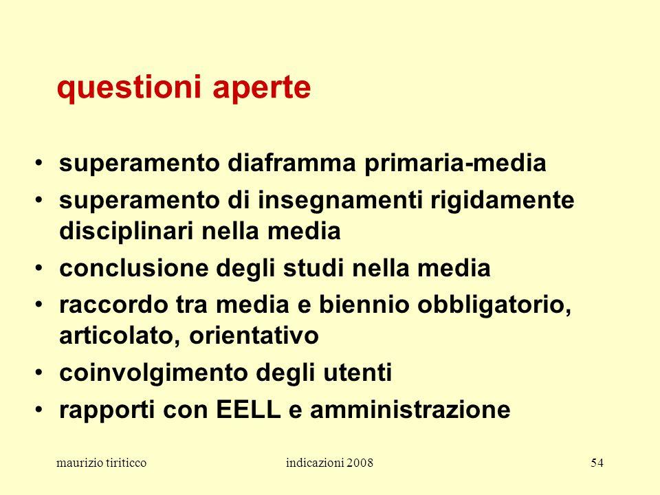 maurizio tiriticcoindicazioni 200854 questioni aperte superamento diaframma primaria-media superamento di insegnamenti rigidamente disciplinari nella