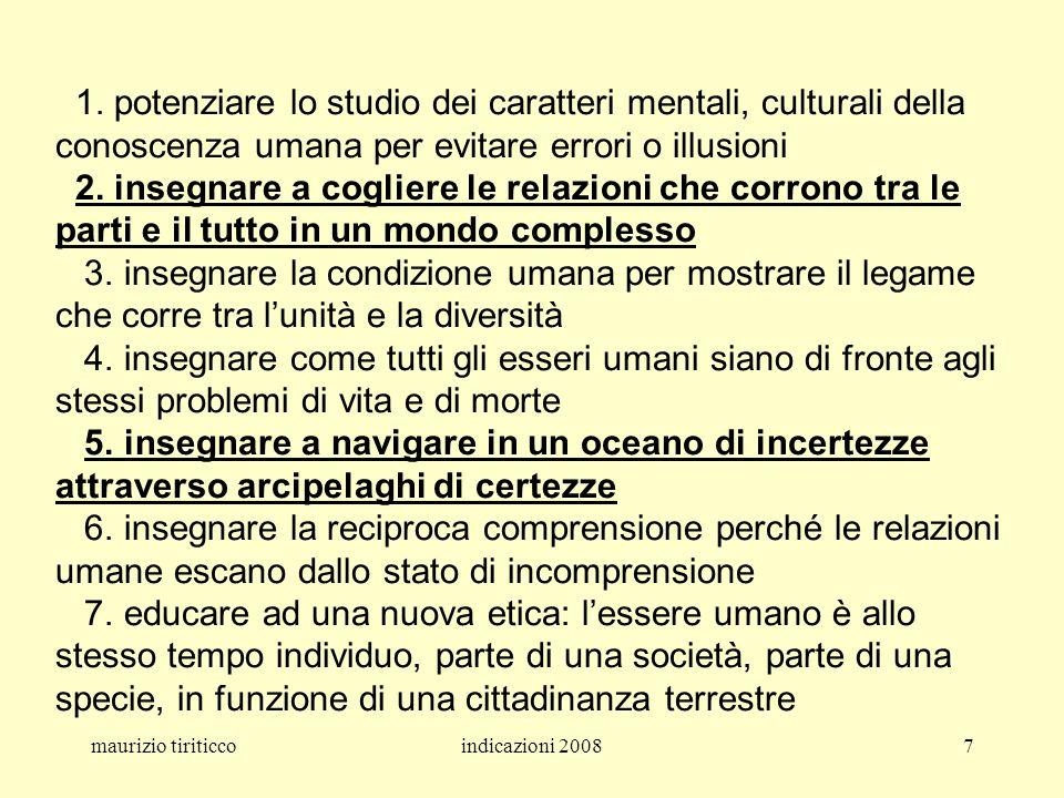 maurizio tiriticcoindicazioni 20087 1. potenziare lo studio dei caratteri mentali, culturali della conoscenza umana per evitare errori o illusioni 2.