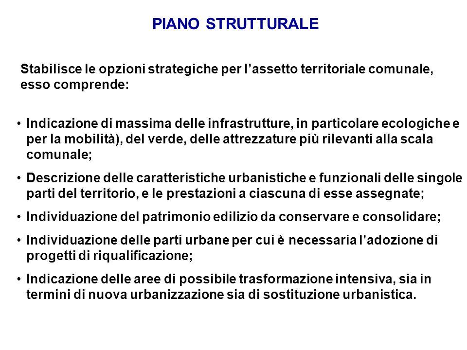 PIANO STRUTTURALE Stabilisce le opzioni strategiche per lassetto territoriale comunale, esso comprende: Indicazione di massima delle infrastrutture, i
