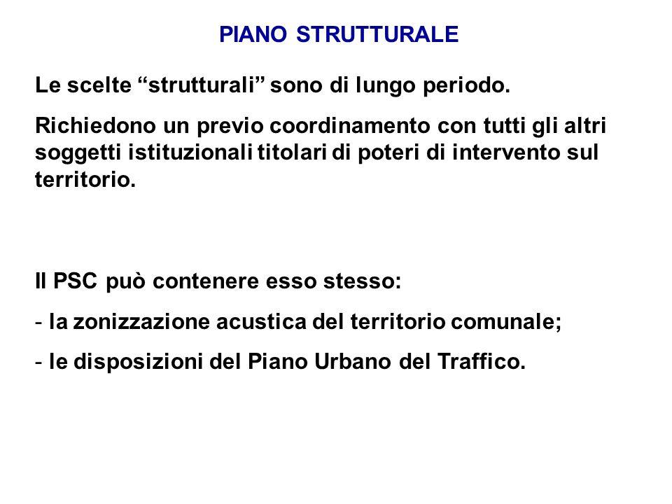 PIANO STRUTTURALE Le scelte strutturali sono di lungo periodo. Richiedono un previo coordinamento con tutti gli altri soggetti istituzionali titolari