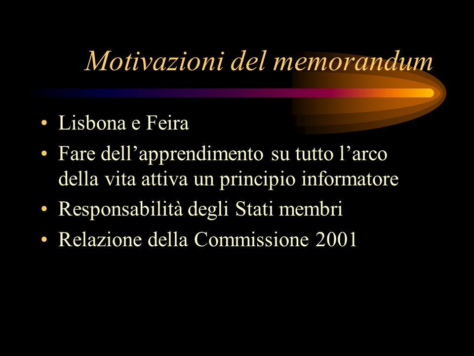 Motivazioni del memorandum Lisbona e Feira Fare dellapprendimento su tutto larco della vita attiva un principio informatore Responsabilità degli Stati membri Relazione della Commissione 2001