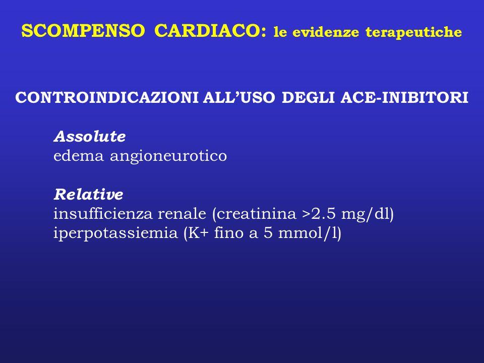 SCOMPENSO CARDIACO: le evidenze terapeutiche CONTROINDICAZIONI ALLUSO DEGLI ACE-INIBITORI Assolute edema angioneurotico Relative insufficienza renale