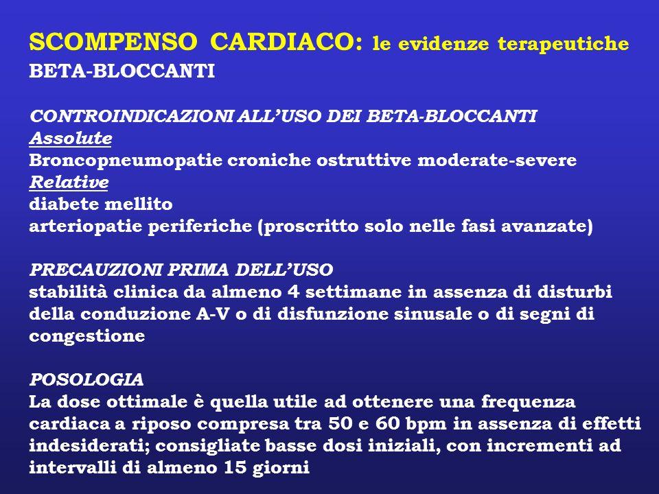 SCOMPENSO CARDIACO: le evidenze terapeutiche BETA-BLOCCANTI CONTROINDICAZIONI ALLUSO DEI BETA-BLOCCANTI Assolute Broncopneumopatie croniche ostruttive