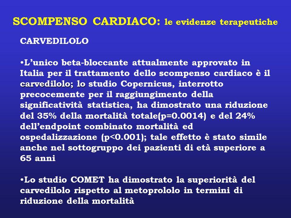 SCOMPENSO CARDIACO: le evidenze terapeutiche CARVEDILOLO carvedilolo; lo Lunico beta-bloccante attualmente approvato in Italia per il trattamento dell
