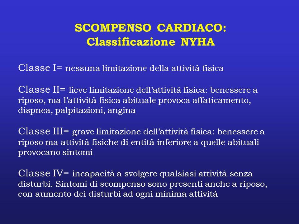 SCOMPENSO CARDIACO: Classificazione NYHA Classe I= nessuna limitazione della attività fisica Classe II= lieve limitazione dellattività fisica: benesse