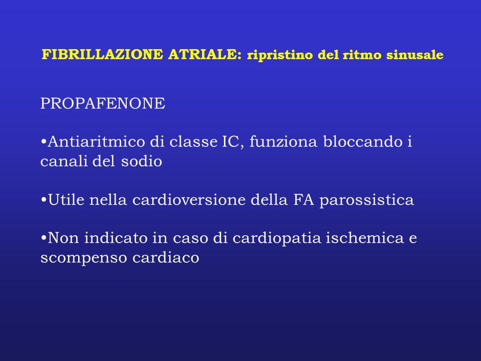 FIBRILLAZIONE ATRIALE: ripristino del ritmo sinusale PROPAFENONE Antiaritmico di classe IC, funziona bloccando i canali del sodio Utile nella cardiove