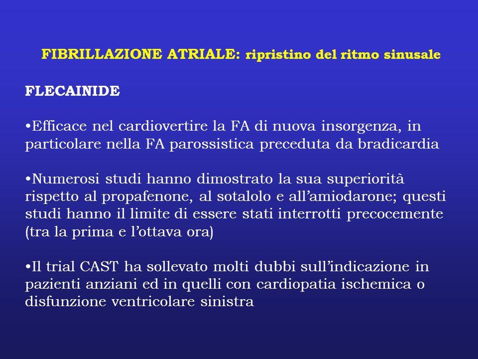 FIBRILLAZIONE ATRIALE: ripristino del ritmo sinusale FLECAINIDE Efficace nel cardiovertire la FA di nuova insorgenza, in particolare nella FA parossis