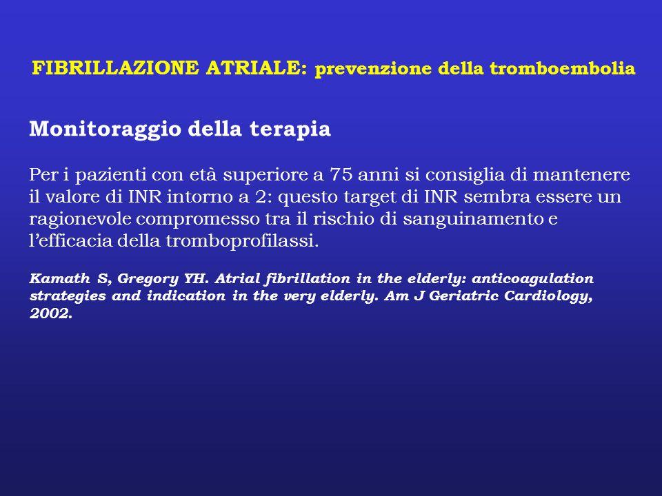 FIBRILLAZIONE ATRIALE: prevenzione della tromboembolia Monitoraggio della terapia Per i pazienti con età superiore a 75 anni si consiglia di mantenere