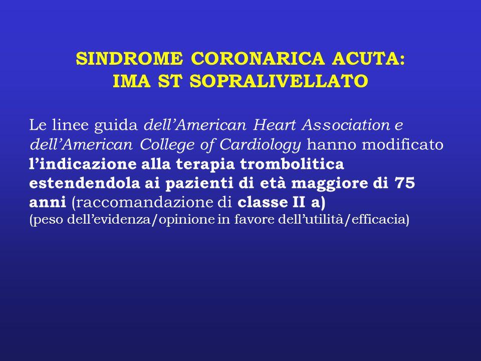 SINDROME CORONARICA ACUTA: IMA ST SOPRALIVELLATO Le linee guida dellAmerican Heart Association e dellAmerican College of Cardiology hanno modificato l