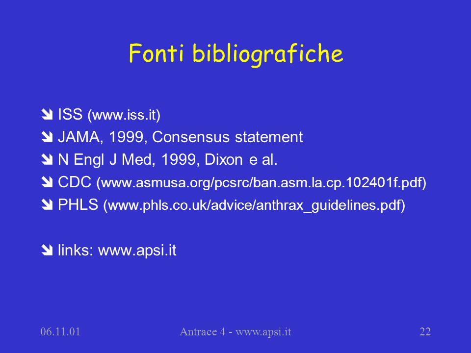 06.11.01Antrace 4 - www.apsi.it22 Fonti bibliografiche îISS (www.iss.it) îJAMA, 1999, Consensus statement îN Engl J Med, 1999, Dixon e al.