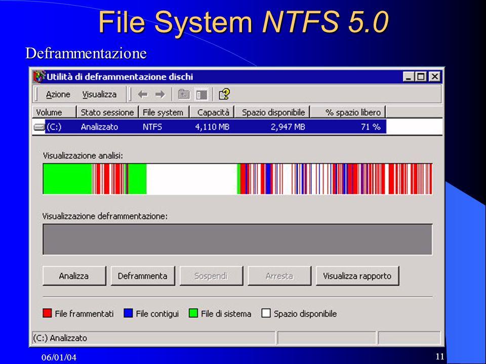 06/01/04 11 File System NTFS 5.0 Deframmentazione