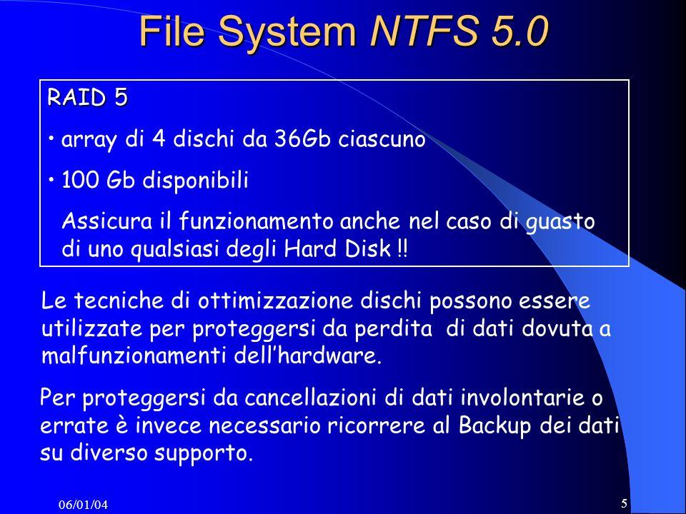 06/01/04 5 File System NTFS 5.0 Le tecniche di ottimizzazione dischi possono essere utilizzate per proteggersi da perdita di dati dovuta a malfunzionamenti dellhardware.