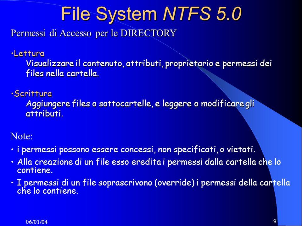06/01/04 9 File System NTFS 5.0 Permessi di Accesso per le DIRECTORY LetturaLettura Visualizzare il contenuto, attributi, proprietario e permessi dei files nella cartella.