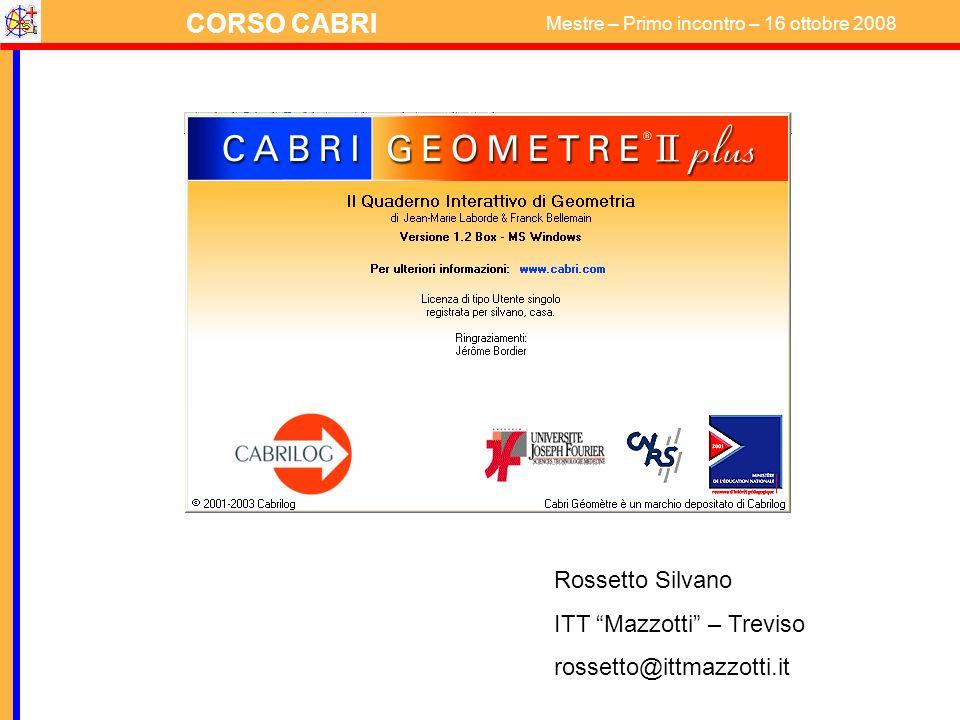 CORSO CABRI Mestre – Primo incontro – 16 ottobre 2008 COSTRUZIONE (problema) Dividere un triangolo rettangolo in due parti equivalenti con una retta perpendicolare ad un cateto.