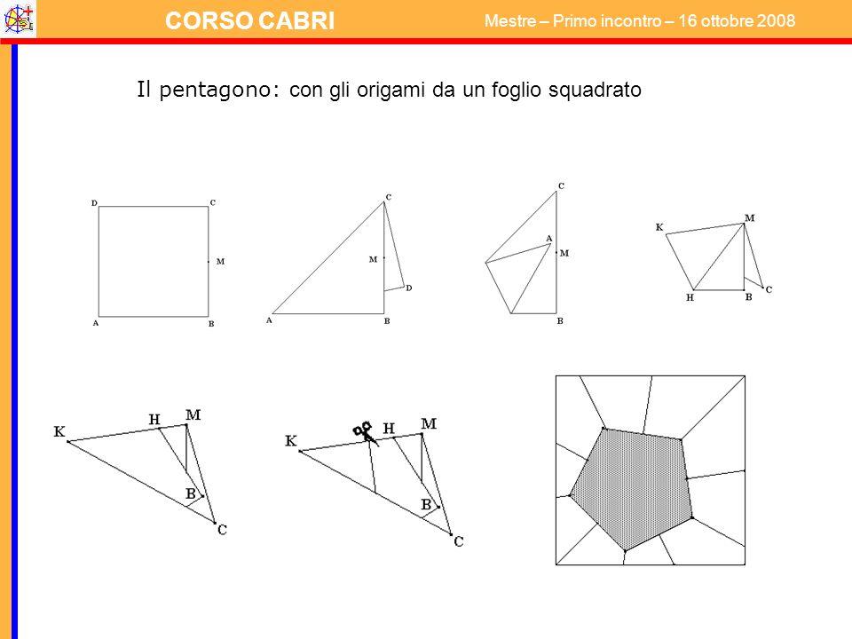 CORSO CABRI Mestre – Primo incontro – 16 ottobre 2008 Il pentagono: con gli origami da un foglio squadrato
