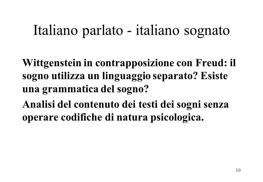 10 Italiano parlato - italiano sognato Wittgenstein in contrapposizione con Freud: il sogno utilizza un linguaggio separato.