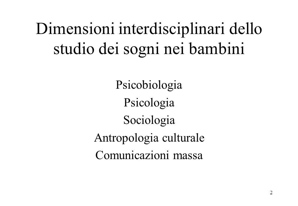 2 Dimensioni interdisciplinari dello studio dei sogni nei bambini Psicobiologia Psicologia Sociologia Antropologia culturale Comunicazioni massa