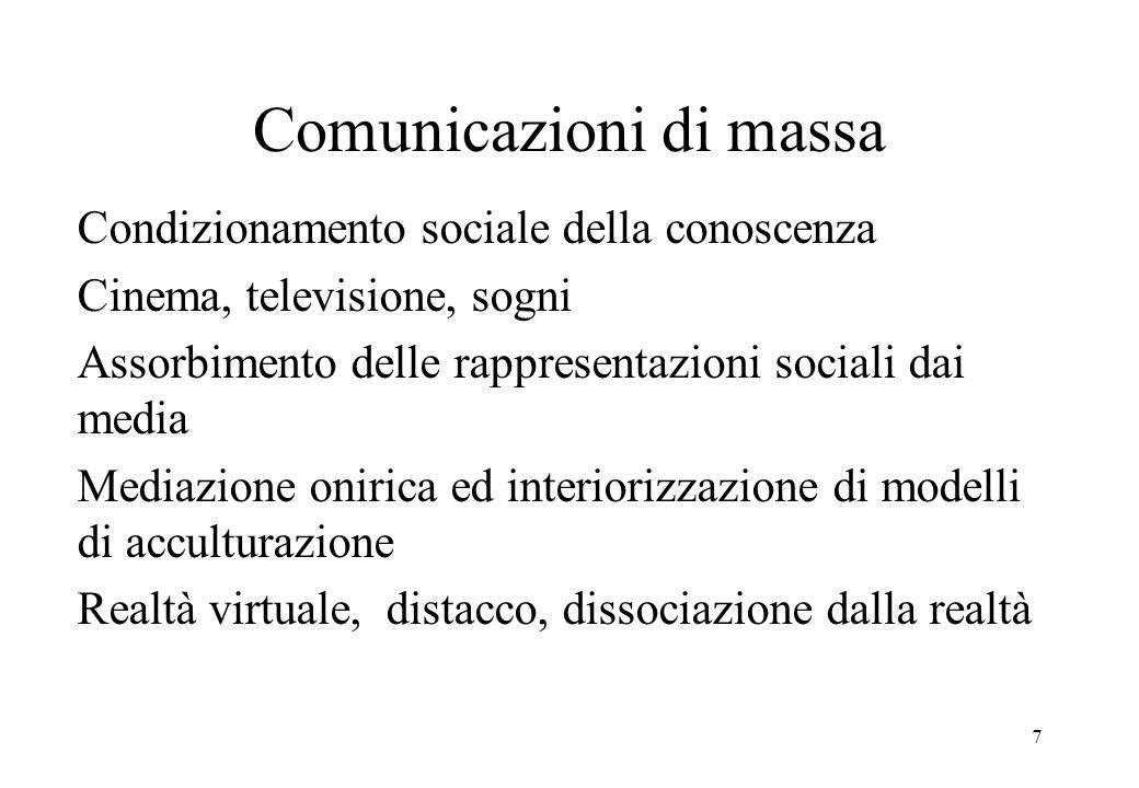 7 Comunicazioni di massa Condizionamento sociale della conoscenza Cinema, televisione, sogni Assorbimento delle rappresentazioni sociali dai media Mediazione onirica ed interiorizzazione di modelli di acculturazione Realtà virtuale, distacco, dissociazione dalla realtà