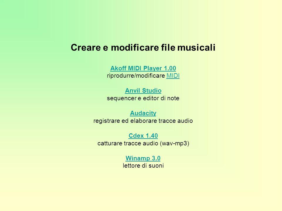 Creare e modificare file musicali Akoff MIDI Player 1.00 Akoff MIDI Player 1.00 riprodurre/modificare MIDI Anvil Studio sequencer e editor di note Audacity registrare ed elaborare tracce audio Cdex 1.40 catturare tracce audio (wav-mp3) Winamp 3.0 lettore di suoniMIDI Anvil Studio Audacity Cdex 1.40 Winamp 3.0