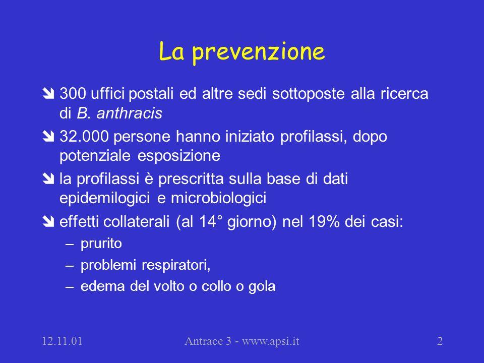 12.11.01Antrace 3 - www.apsi.it2 La prevenzione î300 uffici postali ed altre sedi sottoposte alla ricerca di B.