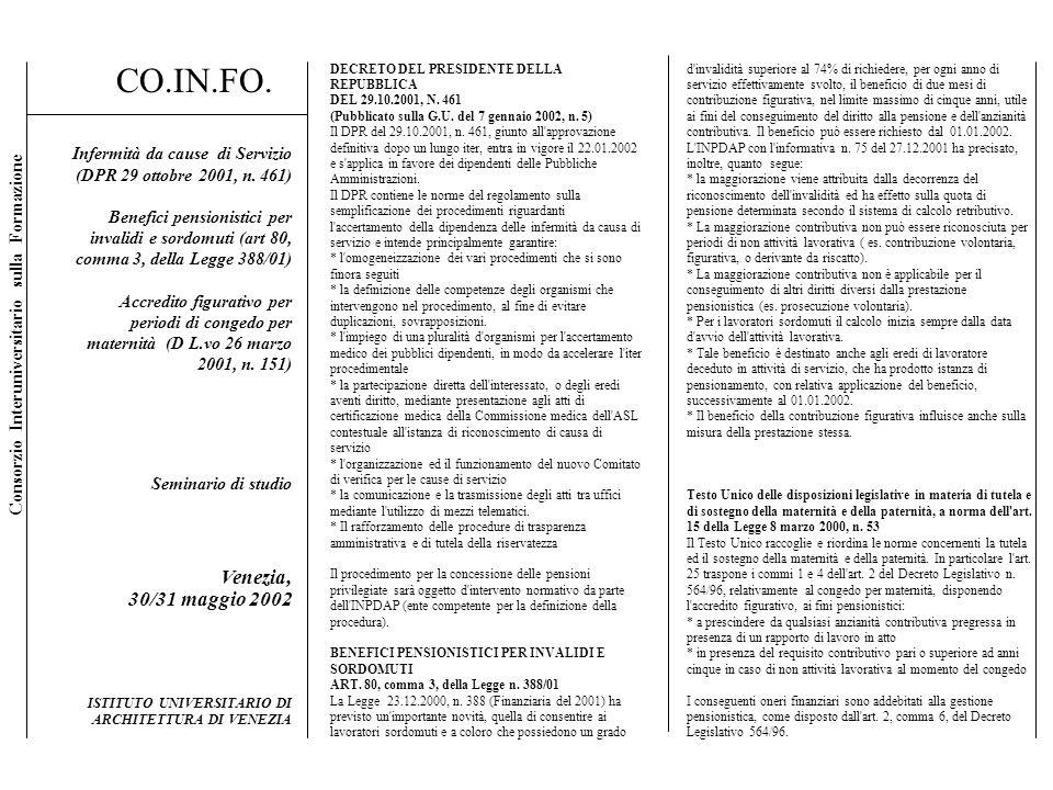 DECRETO DEL PRESIDENTE DELLA REPUBBLICA DEL 29.10.2001, N. 461 (Pubblicato sulla G.U. del 7 gennaio 2002, n. 5) Il DPR del 29.10.2001, n. 461, giunto