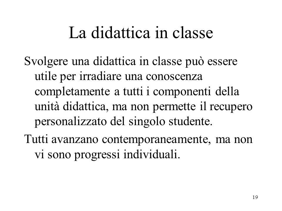 19 La didattica in classe Svolgere una didattica in classe può essere utile per irradiare una conoscenza completamente a tutti i componenti della unit