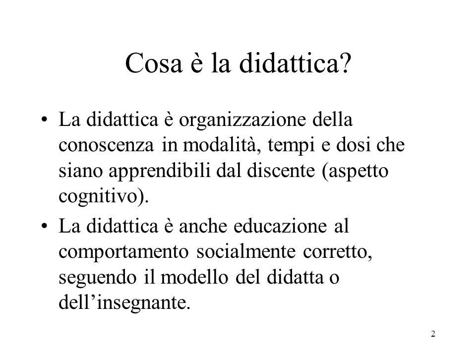 2 Cosa è la didattica? La didattica è organizzazione della conoscenza in modalità, tempi e dosi che siano apprendibili dal discente (aspetto cognitivo