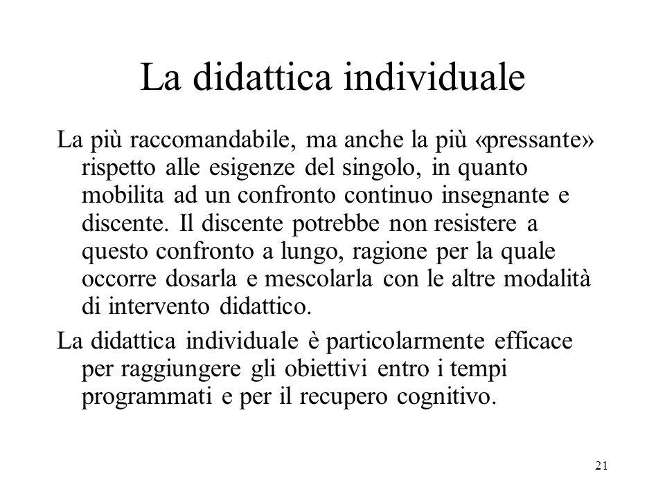 21 La didattica individuale La più raccomandabile, ma anche la più «pressante» rispetto alle esigenze del singolo, in quanto mobilita ad un confronto